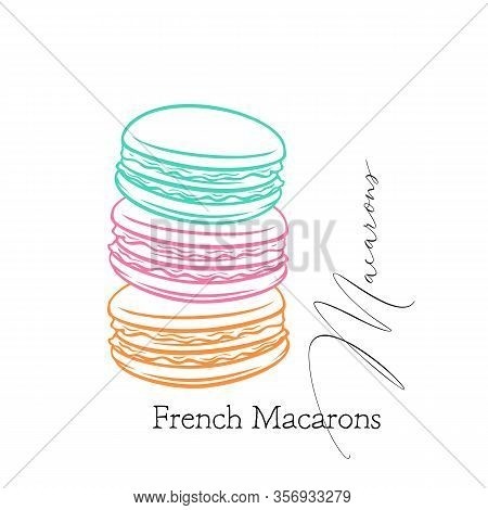 Macarons Outline. Banner Of Pastry For Cafe Design. French Cookies Macaron, Sketch Vector Illustrati
