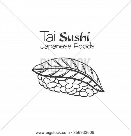 Tai Sushi Outline. Japanese Traditional Food Icon With Sea Bream Fish Fillets. Isolated Hand Drawn S