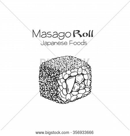 Masago Sushi Outline. California Roll. Japanese Traditional Food Icon. Isolated Hand Drawn Seafood V