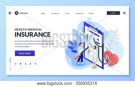 Health Insurance Concept. Doctor With Patient Sign Medical Insurance Contract. Vector 3d Isometric C