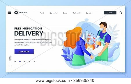 Home Delivery Service Of Drugs, Prescription Medicines. Courier In Mask Hands Package With Pills, Me