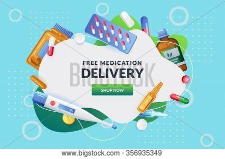 Pharmacy Abstract White Frame With Pills, Drugs, Medical Bottles. Drugstore Vector Background. Medic