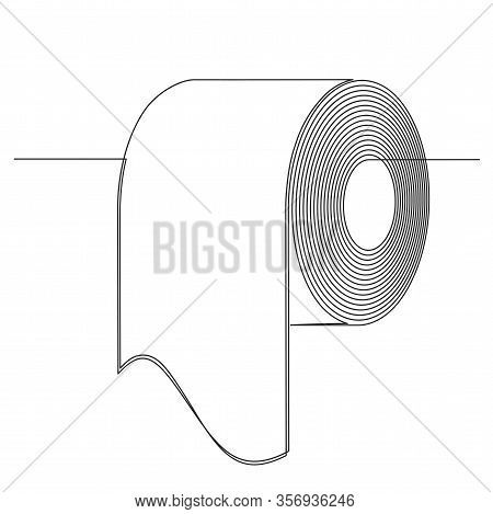 Roll Of Toilet Paper In One Continuous Long Line Drawing Style. Black And White Vector Illustration