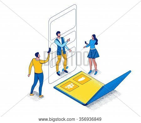 Foldable Phone Isometric Concept With People Using Flexible Smartphone, Cartoon Characters With Futu
