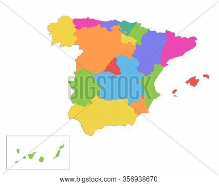Spain Map, Administrative Division, Separate Individual Regions, Color Map Isolated On White Backgro