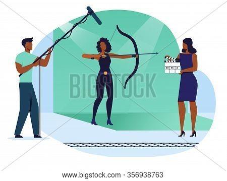 Action Scene Shooting Flat Vector Illustration. Movie Making Crew, Team Cartoon Characters. Actress