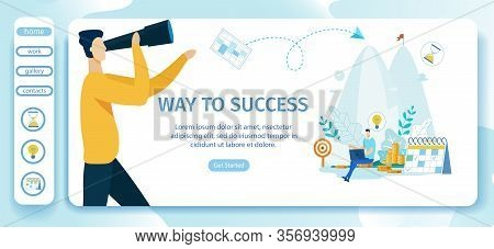 Advertising Poster Way To Success Landing Page. Banner Necessary Tools For Implementation Plan To Im