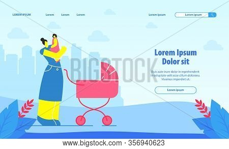Babysitting Service Landing Page Vector Template. Mother, Nanny With Child Cartoon Character. Mother