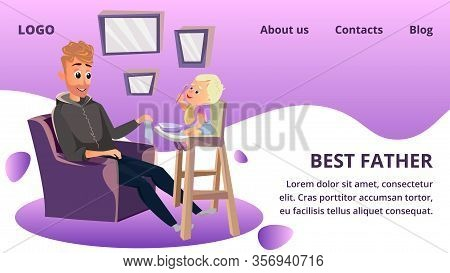 Best Father Banner. Father Day Celebration Greeting Card. Man Feeding Little Boy Vector Illustration