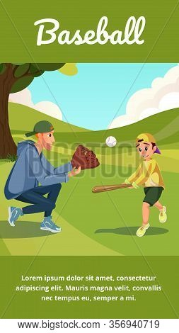 Baseball Banner. Cartoon Man Teach Boy Play American Baseball. Dad Catch, Boy Hit Ball With Bat Vect