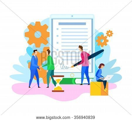 Business Partner Signing Contract Illustration. Partnership, Teamwork. Cartoon Corporate Lawyer And