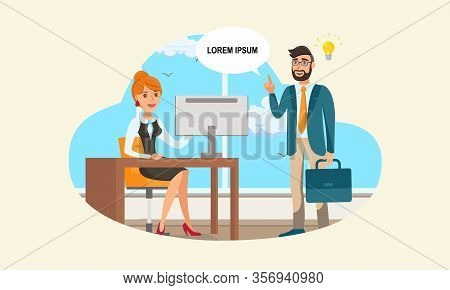 Business Proposition, Startup Idea Illustration . Businessman With Personal Assistant Characters. En