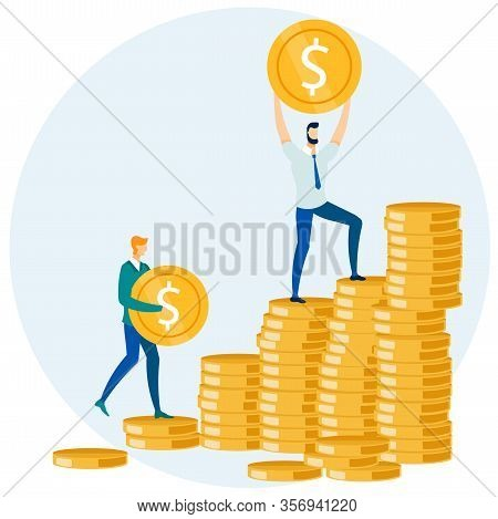 Flat Businessmen Putting Gold Coins In Pile Cartoon. Saving Dollars And Investment Vector Illustrati