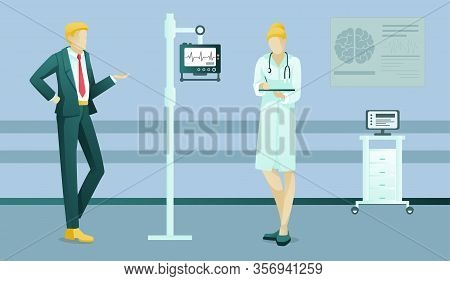 Businessman And Female Doctor People Characters At Clinic. Man On Therapist Appointment. Woman Cardi