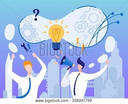 Creative Idea Announcement. Presentation Metaphor Vector. Cartoon Businessmen Advertise New Strategy