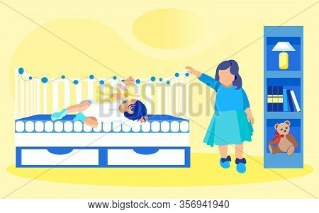 Two Kids, Siblings, In Nursery With Shelving, Night Lamp And Soft Teddy Bear. Baby Girl Or Boy, Slee