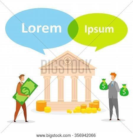 Credit, Loan Repayment Flat Social Media Banner. Men Carrying Money Cartoon Characters. Currency Exc