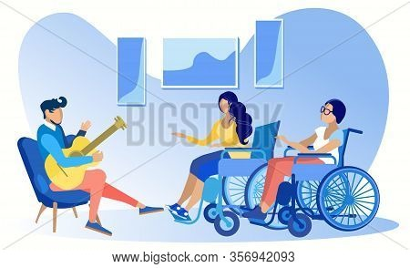 Young Disabled Ladies Friends Sitting Wheelchair Talking To Man Guitarist. Musical Lesson. Recreatio