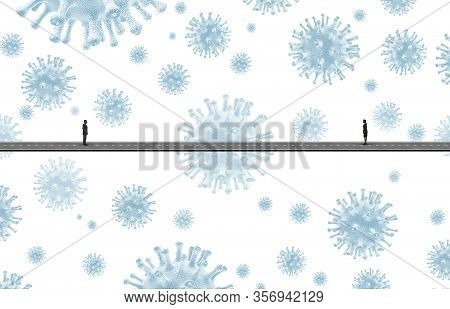 Social Distancing Disease Control And Limiting Contact With People To Avoid Flu Virus Infection To L