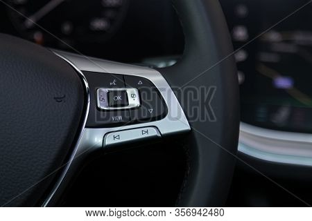 Novosibirsk, Russia - March 09, 2020:  Volkswagen Touareg, Close-up Of The Multiwheel With Phone Set