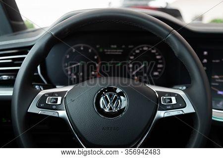 Novosibirsk, Russia - March 09, 2020:  Volkswagen Touareg, Car Interior - Dashboard, Player, Steerin