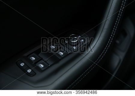 Novosibirsk, Russia - March 09, 2020:  Volkswagen Touareg, Closeup Of A Door Control Panel In A New