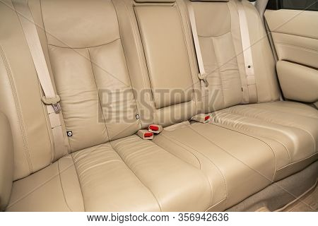 Novosibirsk, Russia - January  31, 2020:  Nissan Teana, Rear Seat For Passengers In  Beige Leather