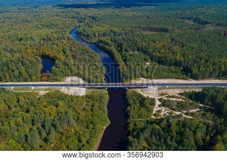 Bridge Over The Mega River On The R-243 Highway On A Sunny September Day (aerial Photography). Kostr