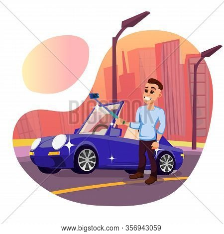 Vain Young Man, Showing Off With His New Expensive Car. Young Man, Holding Selfie Stick In Hands, Ma
