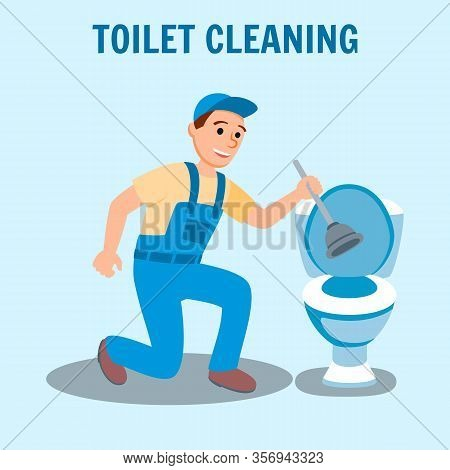 Man Plumber In Uniform With Plunger In Hand Toilet Bowl Bathroom Vector Illustration. Toilet Cleanin