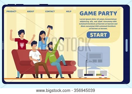 Advertising Poster Inscription Game Party Slide. Themed Warming Evening At Home. Men And Women Have