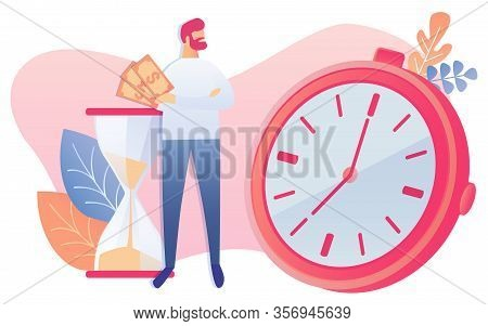 Cartoon Male Businessman Hold Cash Money In Hand, Look At Clock Stopwatch Watch Symbol Vector Illust