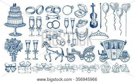 Large Set Of Wedding Elements. Sketch Style. Wedding Cake, Wedding Rings, Wedding Carriage With A Ho