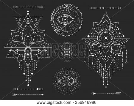 Vector Kit Of Sacred Geometric And Natural Symbols On Black Background. Abstract Mystic Signs Collec