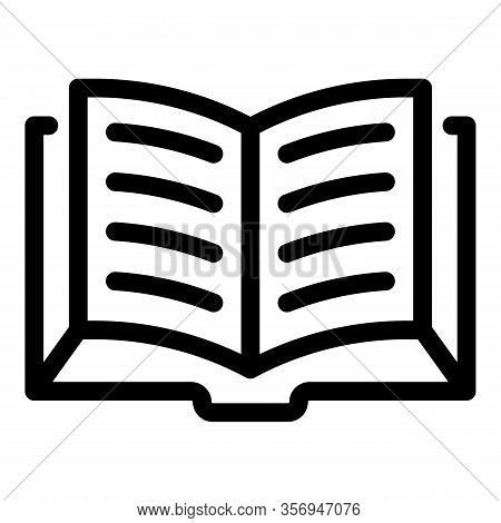 Open Thick Book Icon. Outline Open Thick Book Vector Icon For Web Design Isolated On White Backgroun
