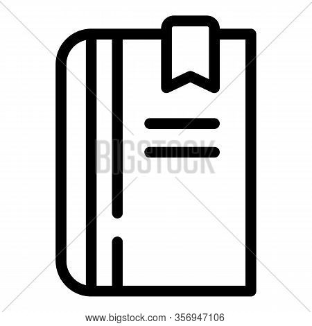 Bookmarked Book Icon. Outline Bookmarked Book Vector Icon For Web Design Isolated On White Backgroun