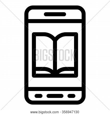 Ebook In A Smartphone Icon. Outline Ebook In A Smartphone Vector Icon For Web Design Isolated On Whi