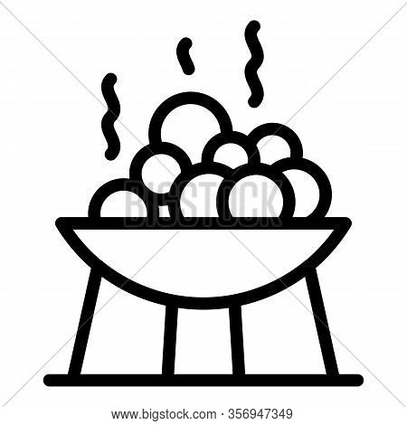 Bowl With Bath Stones Icon. Outline Bowl With Bath Stones Vector Icon For Web Design Isolated On Whi