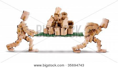 Recycling boxes by box characters and stretcher