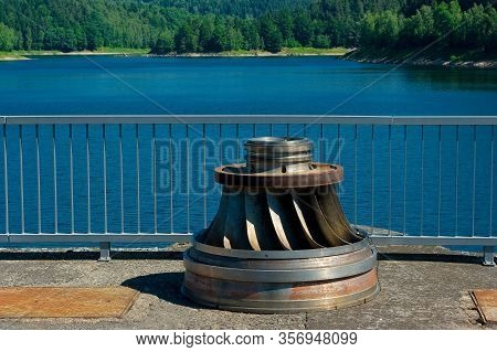 Old Francis Turbine. One Of The First Turbines Installed In A Hydro Power Plant Called Vir. It Is No