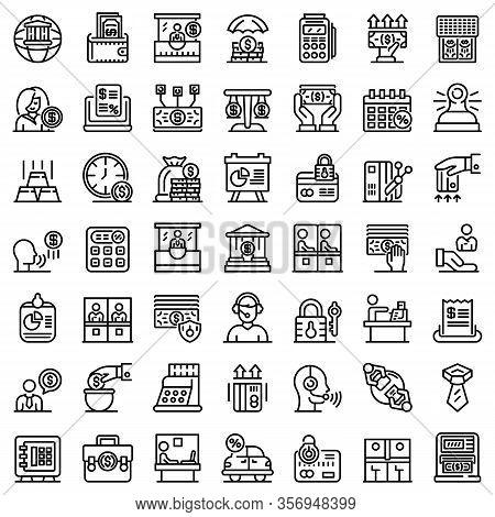 Bank Teller Icons Set. Outline Set Of Bank Teller Vector Icons For Web Design Isolated On White Back