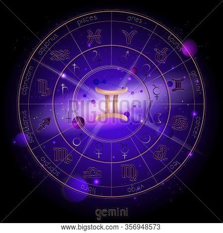 Vector Illustration Of Sign And Constellation Gemini And Horoscope Circle With Astrology Pictograms