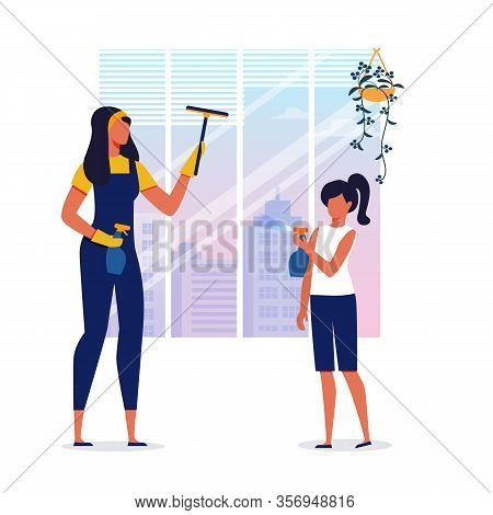 Housekeeping, House Cleaning Vector Illustration. Young Woman And Girl Washing Window Together Carto
