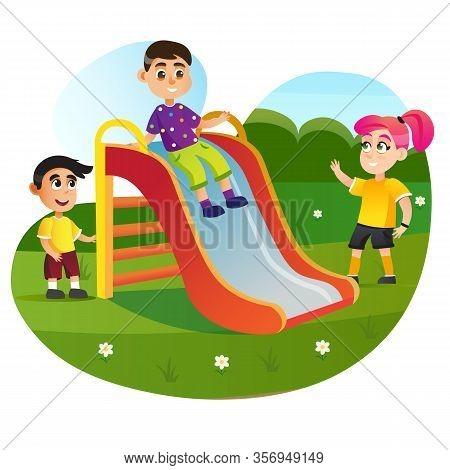 Happy Boy Girl Climb And Slide Vector Illustration. Cartoon Children Play In Park. Playground Equipm