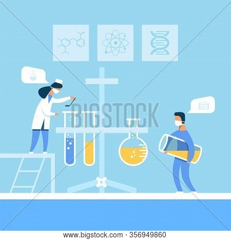 Cartoon Laboratory Assistants In Uniform And Mask Preparing New Medication Using Equipment. Man And