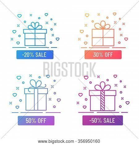 Discont Gift Boxes Outline Color Flat Illustrations. Gift Box Color Gradient Line Illustrations Isol