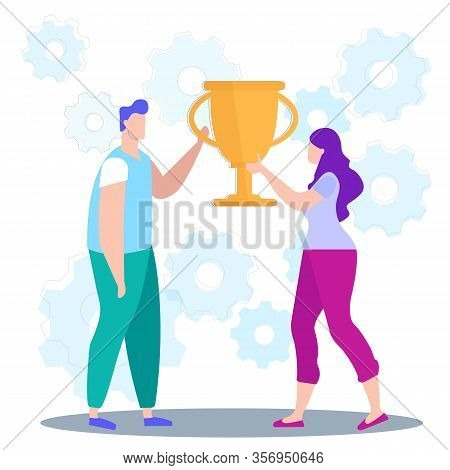 Idea Generation. Creating Business Ideas. Man And Woman Hold In Hand Champion Cup. Turn Into Reality