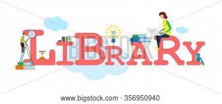 Library Books Collection Banner Vector Template. E-library Website, E-books Archive. E-reading, Dist
