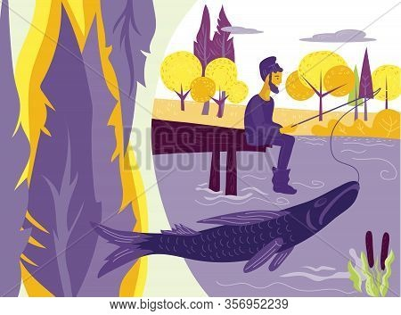 Fisherman Or Angler Fishing On River Or Lake Bank And Forest Landscape Background.
