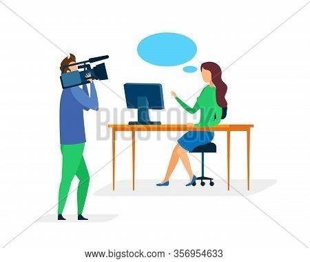 News Program Recording Flat Vector Illustration. Female Newscaster And Cameraman Cartoon Characters.